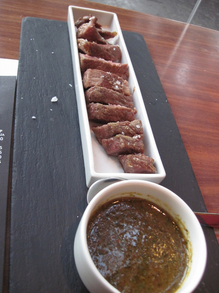 This was steak with a chimichurri sauce.
