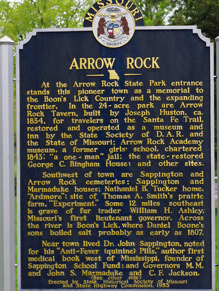 State Historical Society sign, Arrow Rock, Missouri. (side A)