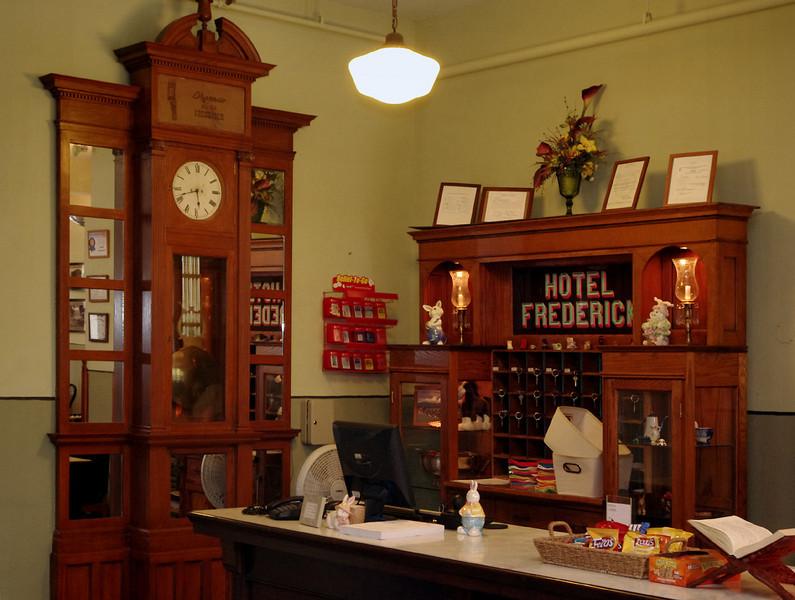 Hotel Frederick, desk, Boonville, Missouri.