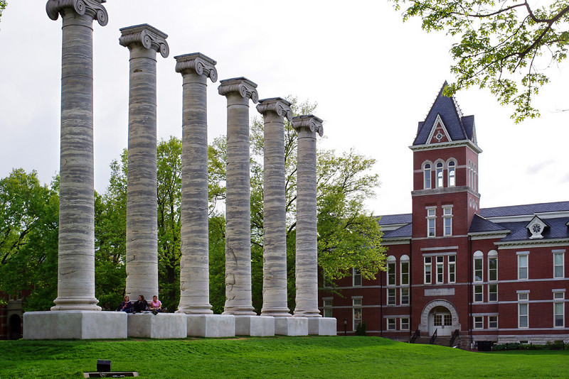 The University of Missouri was founded in 1839 and Academic Hall was the first building on campus. In 1892 Academic Hall was destroyed by fire; these columns were all that remained.