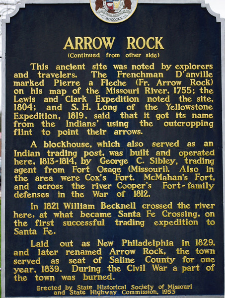 State Historical Society sign, Arrow Rock, Missouri. (side B)