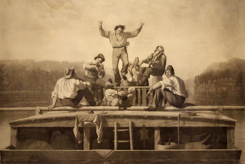 "George Caleb Bingham's gray scale lithograph ""The Jolly Flatboatmen"" - on display at the Arrow Rock State Historic Site Visitors Center."
