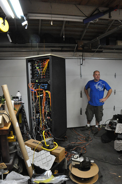 The home owner and chief haunter.  Here with one of his control centers.
