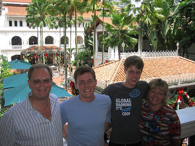 The fam at Raffles Hotel in Singapore