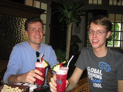 Scott and Kyle enjoying a Singapore Sling at the famous Long Bar at Raffles Hotel.