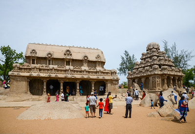 Tourists flock to Panch Pandava Rathas (பன்ச் பாண்டவ ரதாஸ்). Pancha Rathas is a monument complex at Mahabalipuram, on the Coromandel Coast of the Bay of Bengal, in the Kancheepuram district of the state of Tamil Nadu, India. Pancha Rathas is an example of monolithic Indian rock-cut architecture.