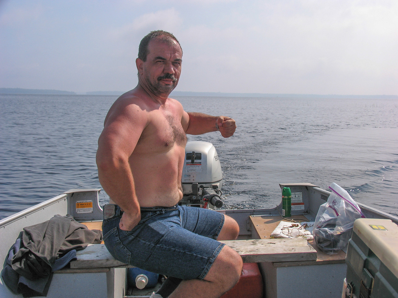 Dinu showing off his recent weight loss - Grand Lake Stream - July 2006