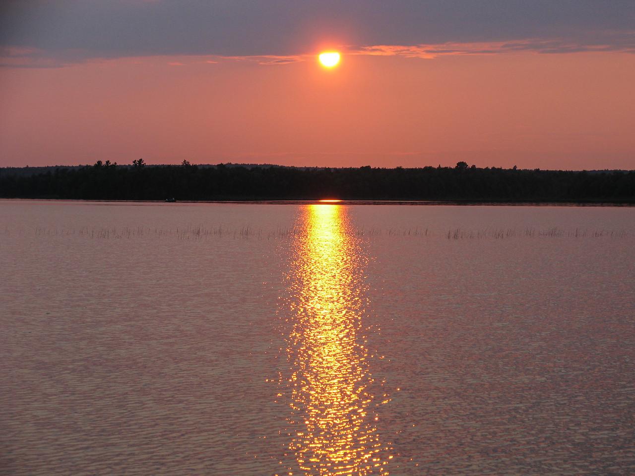 Sun setting on Grand Lake Stream - July 2006
