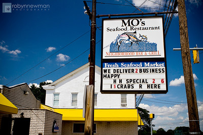 Mo's Seafood Restaurant in Baltimore, MD.  Had a terrific Greek Seafood Salad with shrimp, scallops and tons of lump crab.