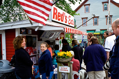 Red's Eats in Wiscasset, Maine.  People stand in line for their Lobster Rolls (& for a good reason).