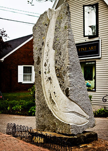 Whale carving in granite.  Boothbay Harbor, Maine