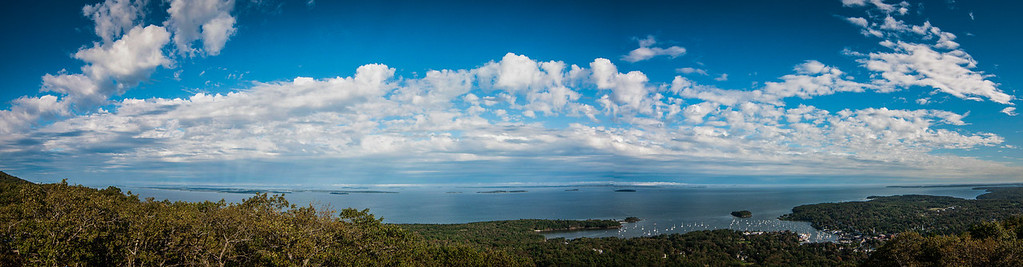 Camden Harbor, Sherman Cove and Penobscot Bay Maine from the Camden Hills State Park