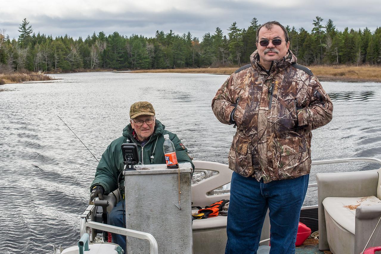 Gary Betz and Dinu Iorga on Gary's pontoon boat, Big Lake, Grand Lake Stream, ME - November 2016