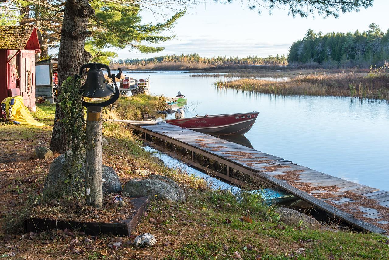 View of camp's dock, Grand Lake Stream, ME - November 2016