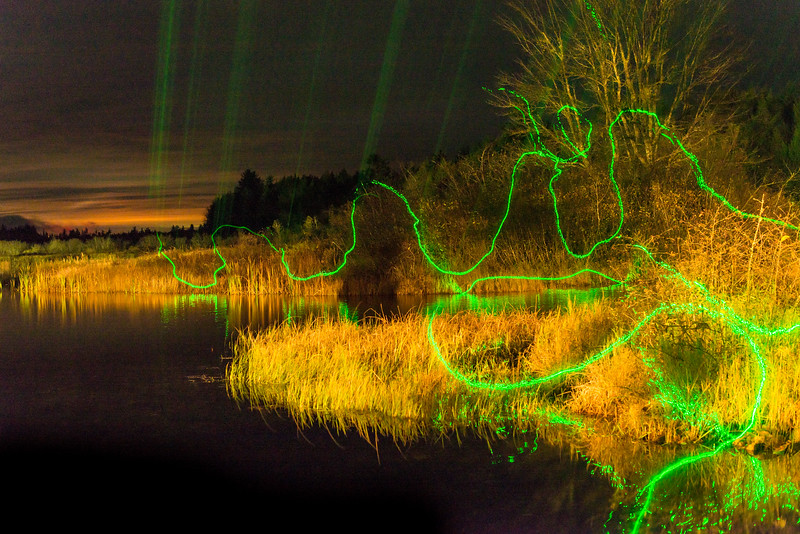 "Long night-time exposure that I ""painted"" with a flashlight followed by a green laser, Grand Lake Stream, ME - November 2016"