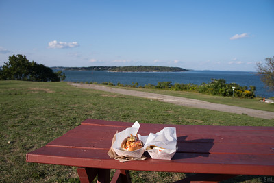 Dinner (Curry Lobster Roll and Caprice from Bite Into Maine) at Portland Head Light