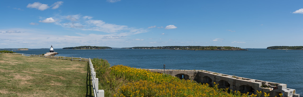 Fort Gorges on the left, then Spring Point Head Light, then Fort Scammel across the river and Fort Preble lower right