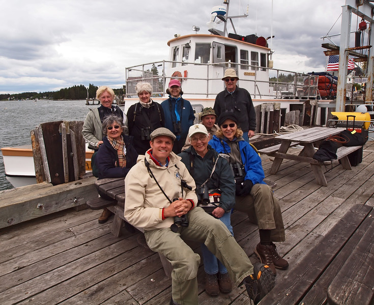 The group: Kathy, Virginia, Lynda, Gerry (back row), Chris, Gabriel, Eleanor, Frank and Mary Jane at the Port Clyde Ferry dock.