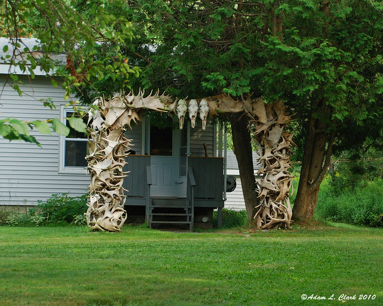 A moose antler archway for the front door