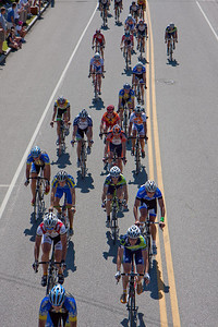 The peloton approaches the start/finish.
