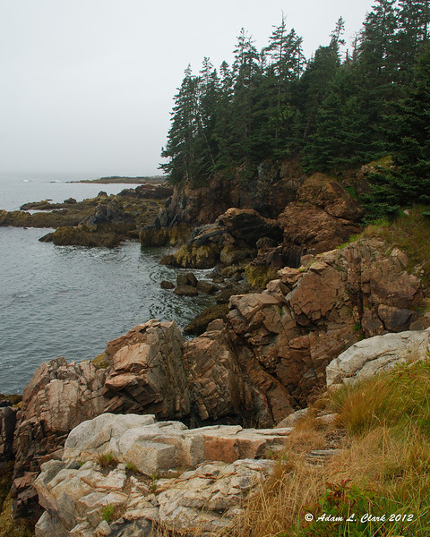 Much of the island's shore was rock like this