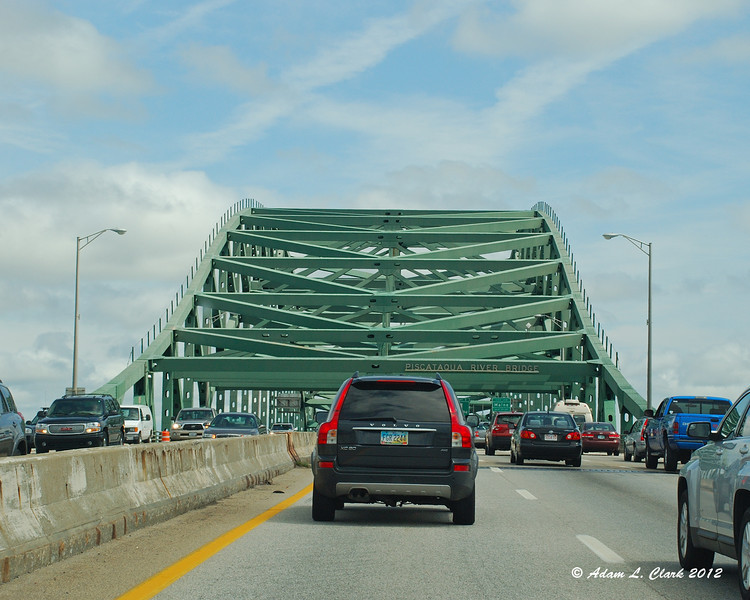 Coming up onto the bridge going over into Maine