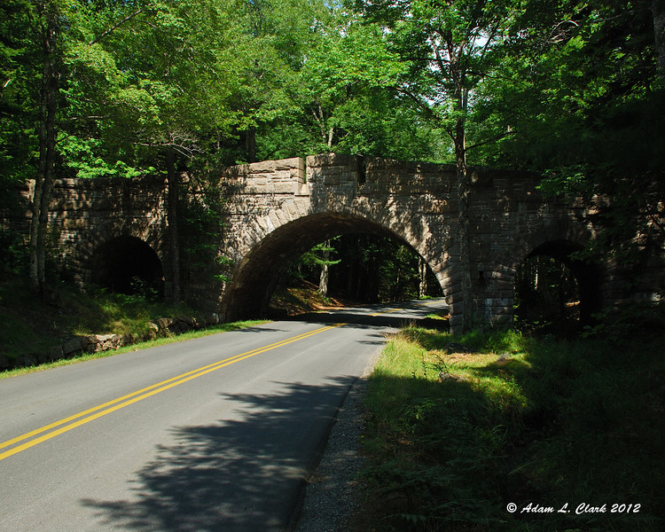 Ome of the stone bridges on the loop road in Acadia