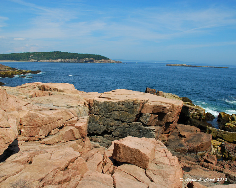 Looking out over the rocky shore at Thunder Hole