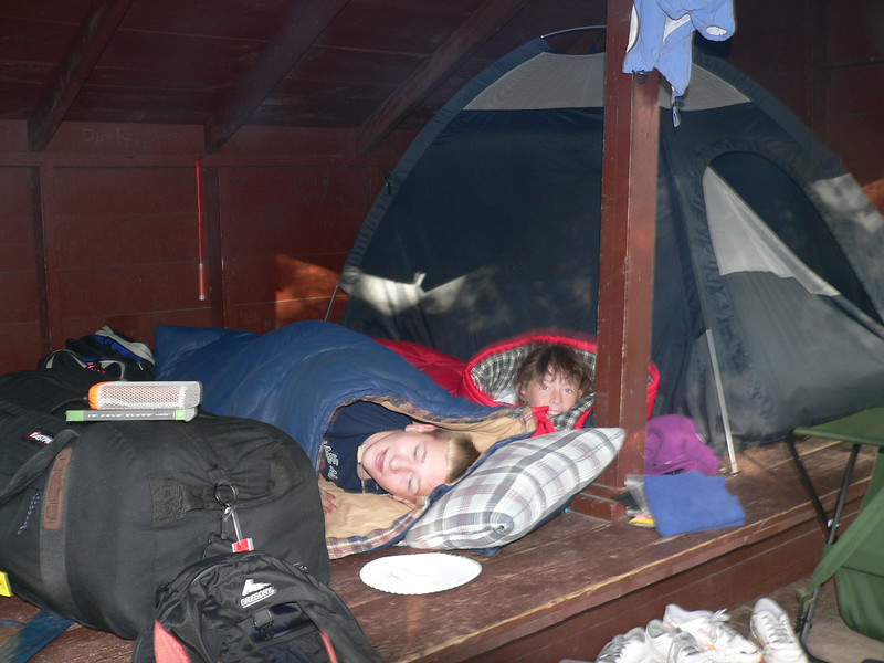 My brother Guy's oldest two, Zachary and Rady in the lean-to at Roaring Brook campground.