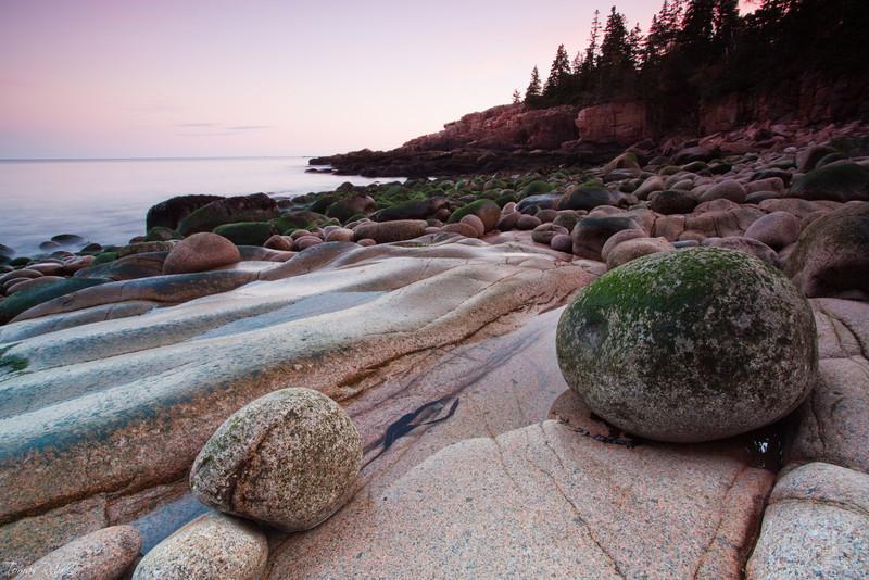 Stones on Otter cliffs coast, Acadia National Park, Maine, USA