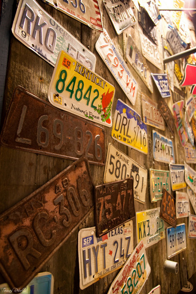 Old plates on restaurant, Bar Harbor, Maine, USA