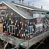Old floats on restaurant, Bar Harbor, Maine, USA