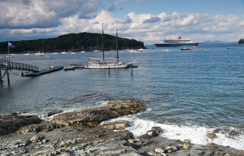 Queen Mary 2 in Bar Harbor, Mount Desert Island, Maine, USA