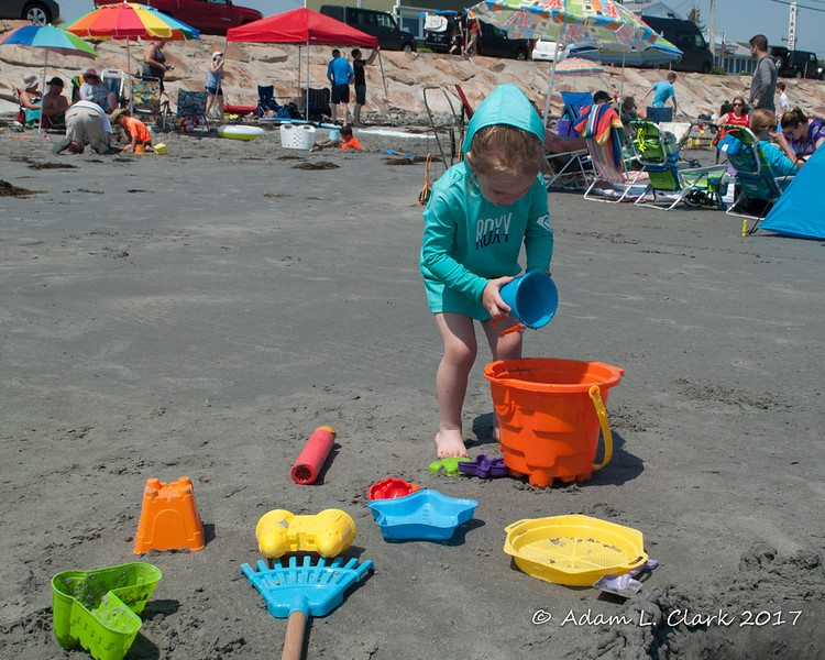 Playing with the sand toys