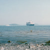 Holland America Rotterdam Anchored at Sea - View from Strolling Along Walkway by Harbor - Bar Harbor, ME  6-27-03