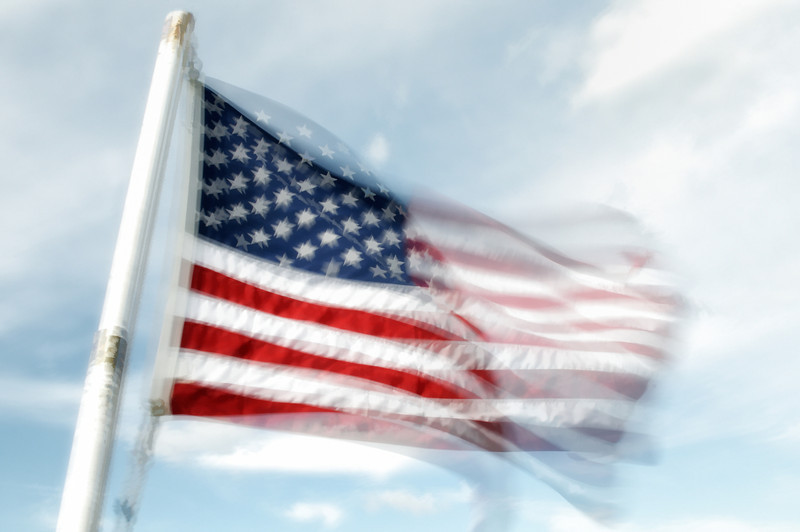 Multiple-image of Old Glory taken on the ferry ride back to the mainland