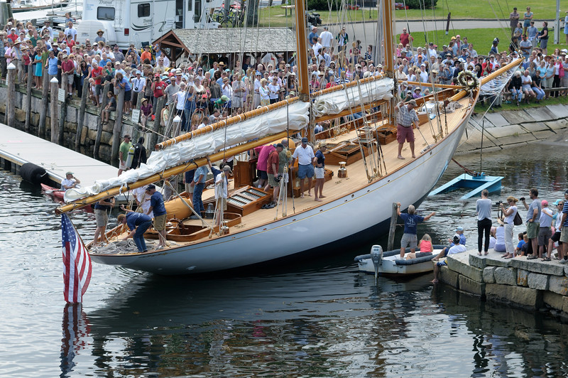 """After 3 years and 70,000 man-hours of restoration, """"Adventuress"""" is in the water"""