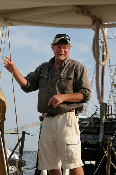 "Capt Nigel ""Twig"" Bower of the ""Heron,"" a 65' John Alden schooner, Rockport Harbor"