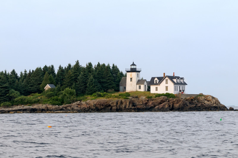 Indian Island Lighthouse with summer residents, Rockport Harbor