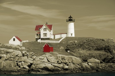 Cape Neddick Nubble in selective color.