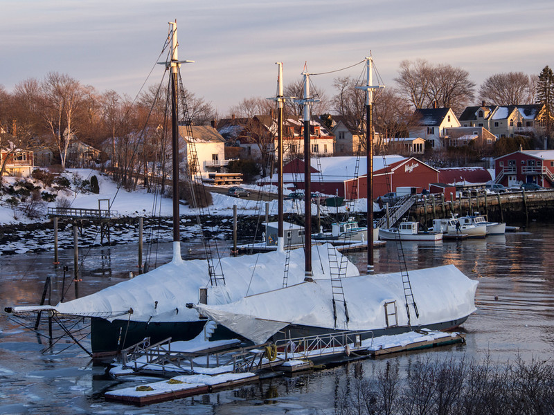 The Camden Harbor ships were clothed in their winter snowsuits.