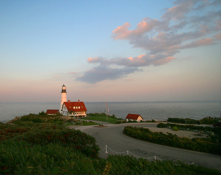Portland Head Light at Cape Elizabeth in Sunset Glow