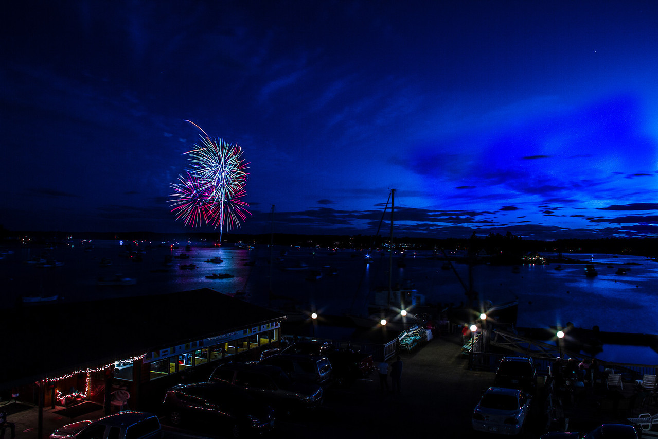 Day~179, Windjammers Day finale lights up the evening in Boothbay Harbor, Maine