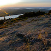 "<span id=""title"">Cadillac Mountain</span> At sunset, facing NW. Many people gathered on this rock face to watch, even though it was tremendously windy and cold."