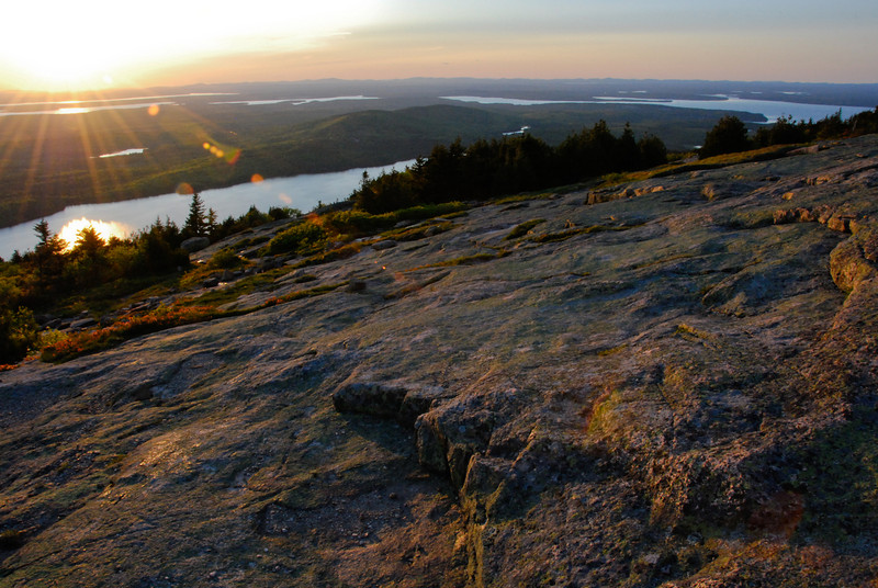 """<span id=""""title"""">Cadillac Mountain</span> At sunset, facing NW. Many people gathered on this rock face to watch, even though it was tremendously windy and cold."""