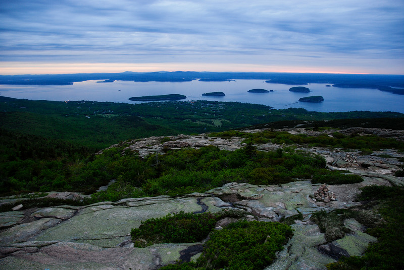 "<span id=""title"">Bar Harbor, Porcupine Islands</span> From Cadillac Mountain, just after the sunrise (you can see how the color faded quickly compared to the previous photo)."