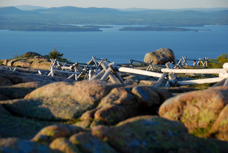 "<span id=""title"">Cadillac Mountain</span> The wood barriers are to keep people off the native vegetation so it can rebound. People have been coming up here for a long, long time."
