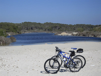 Two lonely bikes by the lagoon