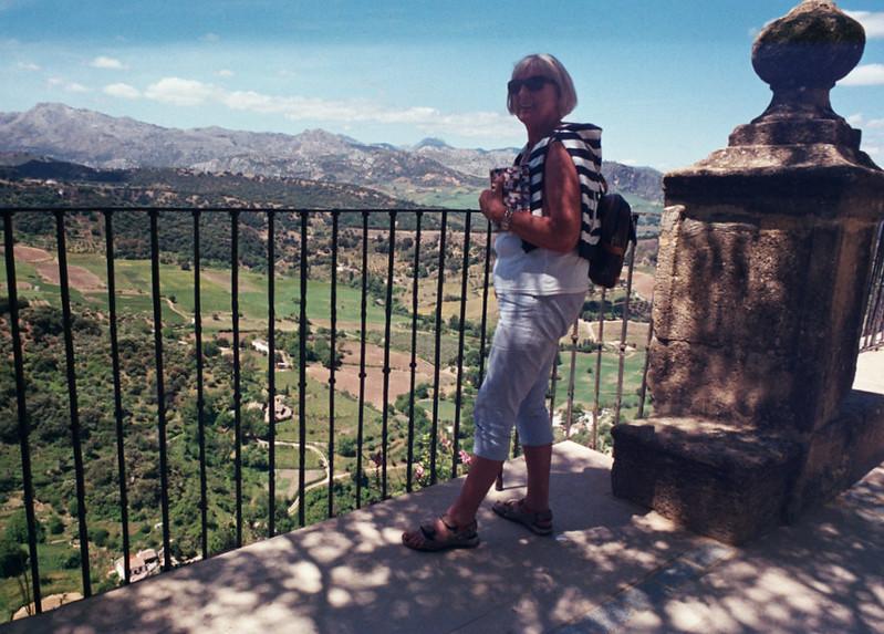 Carmel enjoys Ronda's vistas.