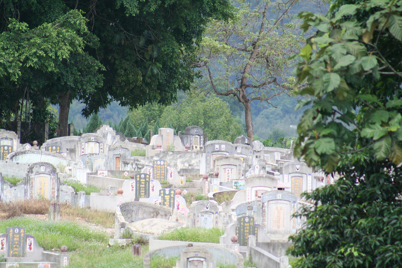 The graveyard adjacent to the school.